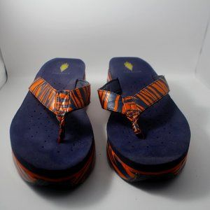 Volatile Auburn Orange & Navy Blue Tiger Stripes Wedge Sandals Sz. 9